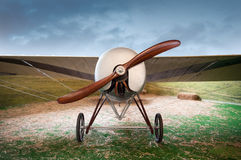 Old vintage airplane with a wooden propeller Royalty Free Stock Photos