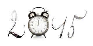 2015, old vintage alarm clock Royalty Free Stock Photos