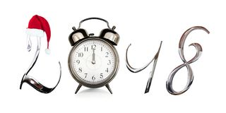 2018 old vintage alarm clock isolated on white Stock Images