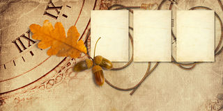 Old vintage album with autumn oak leaves Royalty Free Stock Photography