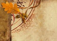 Old vintage album with autumn oak leaves Stock Photo