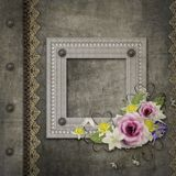 Old vintage album cover. Old vintage album frame with frame and flowers Royalty Free Stock Images