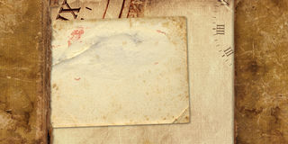 Old vintage album with paper postcards Royalty Free Stock Photo