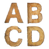 Old, vintage alphabet ABCD. Old, vintage alphabet. The alphabet created from old paper with burnt edges Stock Image