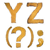 Old, vintage alphabet YZ Royalty Free Stock Photo