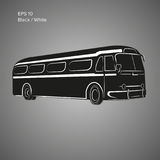 Old vintage american bus vector illustration. Retro passenger vehicle. Old vintage american bus vector illustration Stock Image