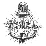 Old vintage anchor with rope and ribbon. With text, quote Royalty Free Stock Image