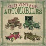 Old Vintage Antique Automobiles. Old Antique Vector Automobiles Drawing Stock Photos