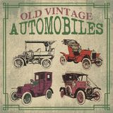 Old Vintage Antique Automobiles. Old Antique Vector Automobiles Drawing Stock Images