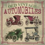 Old Vintage Antique Automobiles. Old Antique Vector Automobiles Drawing Stock Image
