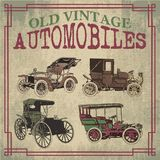 Old Vintage Antique Automobiles. Old Antique Vector Automobiles Drawing Royalty Free Stock Image