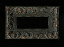 Old, vintage, antique frame on black background stock image