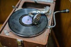 Old vintage antique gramophone. Top view of old vintage antique gramophone Royalty Free Stock Image