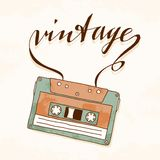 Old vintage audio cassette with tangled tape Royalty Free Stock Photo