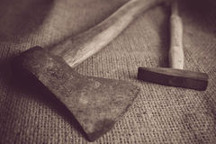 Old vintage axe hand tools Royalty Free Stock Image