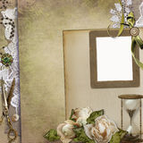 Old vintage background with frame, retro jewelery, withered roses, hourglass, lace and a space for text Royalty Free Stock Photos