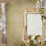 Old vintage background with a frame, withered roses, old letters, postcards, lace. Old letters, cards, ribbon, lace on an old vintage background Royalty Free Stock Photography