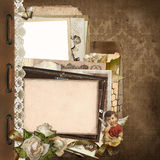 Old vintage background with lace, old documents, money, photo frames, angel Stock Image