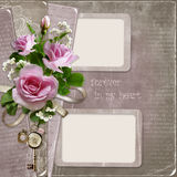 Old vintage background with pink roses and frames Royalty Free Stock Photography