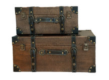 Old vintage bag suitcases on isolate background (clipping path). Stock Image