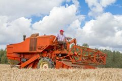 A old vintage bamford combine harvesters Royalty Free Stock Photography