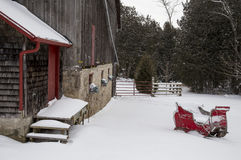 Old Vintage Barn and Sleigh Stock Photography
