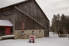 Old Vintage Barn and Sleigh Stock Images