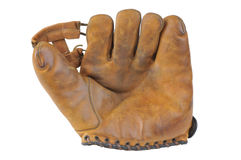 Old vintage baseball catchers glove. A vintage baseball glove isolated on a white background Stock Photo