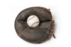 Old vintage baseball mitt with a ball Stock Photos
