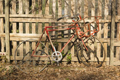 Old vintage bicycle against a wooden fence Royalty Free Stock Image