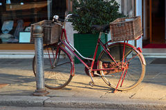 Old vintage bicycle with big basket Royalty Free Stock Photography