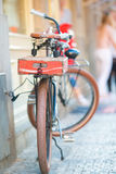 Old vintage bicycle near the house on italian street Stock Photography