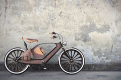 Old vintage bicycle. Steampunk style. Near the wall. 3d render Royalty Free Stock Photography