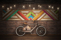 Old vintage bicycle. Steampunk style. Near the wall. 3d render Royalty Free Stock Image