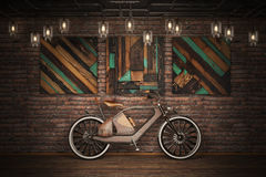 Old vintage bicycle. Steampunk style. Near the wall. 3d render Royalty Free Stock Images