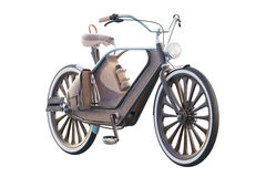 Old vintage bicycle. Steampunk style. On a white background. 3d render Royalty Free Stock Photography