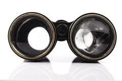 Old vintage binoculars closeup on white background Stock Photo