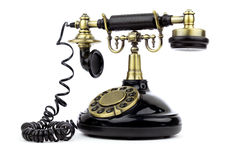 Old vintage black phone Stock Image