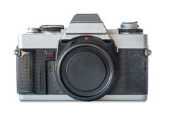 Old vintage black and silver camera. On white background Royalty Free Stock Photo
