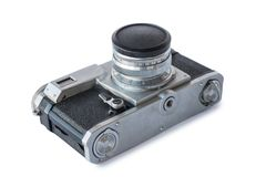 Old vintage black and silver camera. On white background, isolated Stock Photo