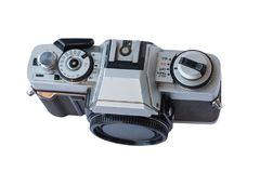 Old vintage black and silver camera. On white background, isolated Stock Photography