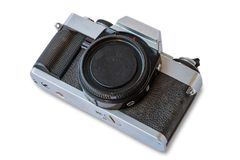 Old vintage black and silver camera. On white background, isolated Royalty Free Stock Photos