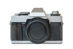 Old vintage black and silver camera. On white background, isolated Royalty Free Stock Photo