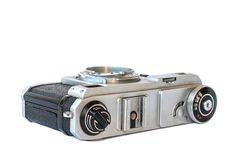 Old vintage black and silver camera. On white background, isolated Royalty Free Stock Photography