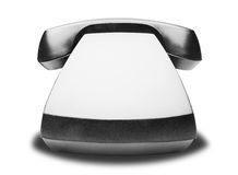 Old vintage black telephone with shadow on white background. Old vintage black telephone with shadow on a white background Royalty Free Stock Images