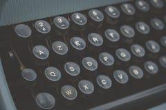 Old vintage blue typewriter detail Stock Photo