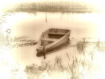 Old vintage boat. Picture with old effects royalty free stock image