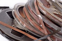 Old vintage bobbins with magnetic tapes Royalty Free Stock Photo