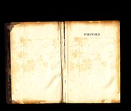 Old vintage book open blank pages black background Royalty Free Stock Images