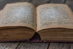 Old vintage book Russian-German dictionary Royalty Free Stock Images